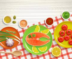 Flat Lay Cooking Tablecloth Wood Background Stock Illustration