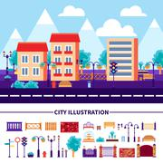 City Illustration Icons Set - stock illustration