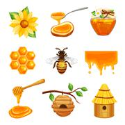 Honey Isolated Icon Set Stock Illustration