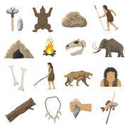 Stone Age Icons - stock illustration