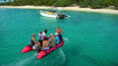 Tender ferries tourists ashore, people or person in shot, HD, UP15823 - stock footage