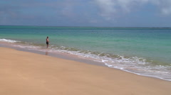 Man diving into the sea, perfect beach, people or person in shot, HD, UP15878 Stock Footage