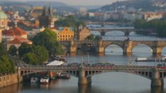 Beautiful evening view of Prague's center part with bridges above Vltava river Stock Footage