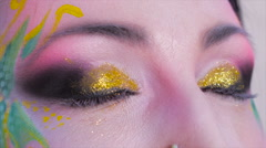 bright and colorful bodyart - stock footage