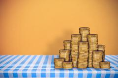 Composite image of stack of gold coins - stock illustration