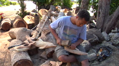 Tongan man carving wooden humpback whale, people or person in shot, HD, UP15911 Stock Footage