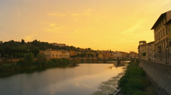 The Arno river in the Florance at the sunset time Stock Footage