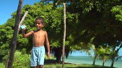 Small Tongan boy waving, people or person in shot, HD, UP15990 Stock Footage