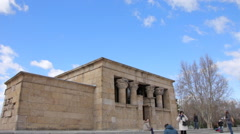 Debod Temple Ancient Monument in Madrid. Tourist visiting  Temple of Debod Stock Footage