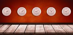 Composite image of five pink clock - stock illustration