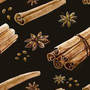 Watercolor spice pattern - stock illustration