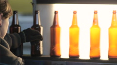 Production of glass bottles Stock Footage