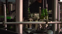Bottles on the machine, beer factory, HD, UP16113 - stock footage