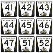 Collection of Nebraska Route shields used in the United States - stock illustration