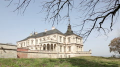 Pidhirtsi castle in ukraine Stock Footage