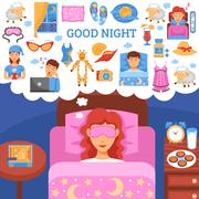 Healthy Night Sleep Tips Flat Poster - stock illustration