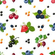 Fresh Berries Seamless Colorful Pattern - stock illustration