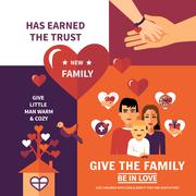 Charity Adoption Flat Banners Composition Design - stock illustration