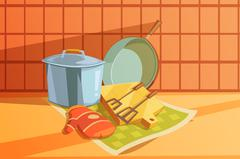 Kitchen Utensils Illustration Stock Illustration