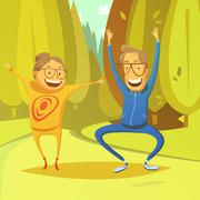 Senior People And Gymnastics Illustration - stock illustration