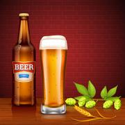 Beer Design Concept With Bottle And Glass - stock illustration