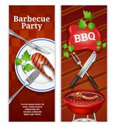 Barbecue Vertical Banners - stock illustration