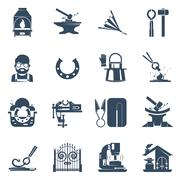 Blacksmith Black Icons Set - stock illustration