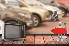 Composite image of an old tv - stock illustration
