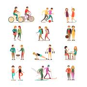 Friends And Hobbies Decorative Icons Set - stock illustration