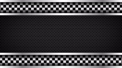 Metal mesh and checkered sports racing background Stock Footage