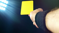 Soccer penalty red and yellow cards on black background Stock Footage