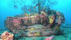 Ocean scenery World War II, WW2 Japanese freighter, deck winch, on wreckage, HD, Stock Footage