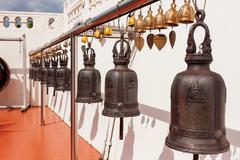 Sacral bells in Wat Saket Ratcha Wora Maha Wihan (the Golden Mount). Bangkok, Stock Photos