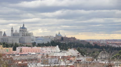 Cityscape view to Almudena Cathedral and Royal Palace in Madrid, Spain - stock footage