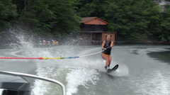 Waterskiing on Lake In The Morning Stock Footage