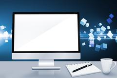 Composite image of image of a desk with computer Stock Illustration
