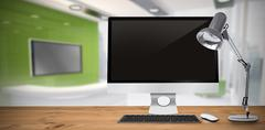 Composite image of image of a desk with computer - stock illustration