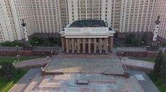 Aerial View of the Spire of the Main Building of Moscow State University and - stock footage