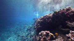 Videographer taking images on very shallow reef and surface in Solomon Islands, Stock Footage