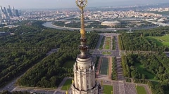Aerial View of the Spire of the Moscow State University and the City of Moscow Stock Footage
