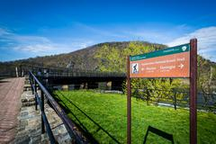 Appalachian Trail sign in Harpers Ferry, West Virginia. Stock Photos