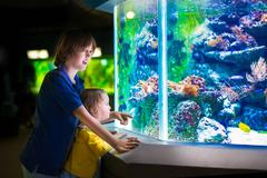 Kids watching fishes in aquarium - stock photo