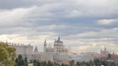 Almudena Cathedral and Royal Palace in Madrid, Spain - stock footage