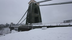 Snowy Clifton Suspension Bridge Bristol Rotating Time Lapse - stock footage