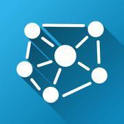 Social Graph Gradient Square Icon - stock illustration