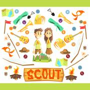 Children Scouts Illustration - stock illustration