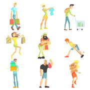 Stock Illustration of People Shopping Collection