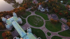 Aerial Video of Palace and Park Complex Tsaritsyno, Moscow. Stock Footage