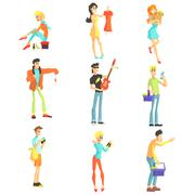 Men And Women Shopping - stock illustration