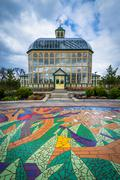 Mural on the ground and the Howard Peters Rawlings Conservatory at Druid Hill Stock Photos